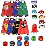 RioRand Costumi da supereroe per bambini con mantelle in raso con maschera in feltro, braccialetti di schiaffo e borsa esclusiva per Regali di compleanno Bambini Giocattoli (8 set)