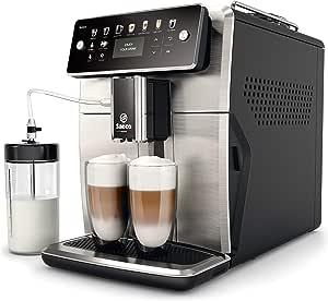 Philips Saeco SM7583/00 - Cafetera Espresso Súper Automática, 12 bebidas de café, 6 perfiles, jarra de leche LatteDuo integrada, limpieza automática, molinillo cerámico, acabado acero inoxidable