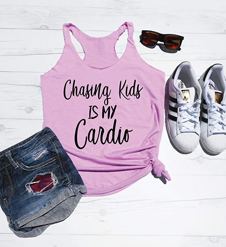 Women/'s V-neck  Chasing Kids is My Cardio Shirt Mom Life Mom Life Mommy Workout