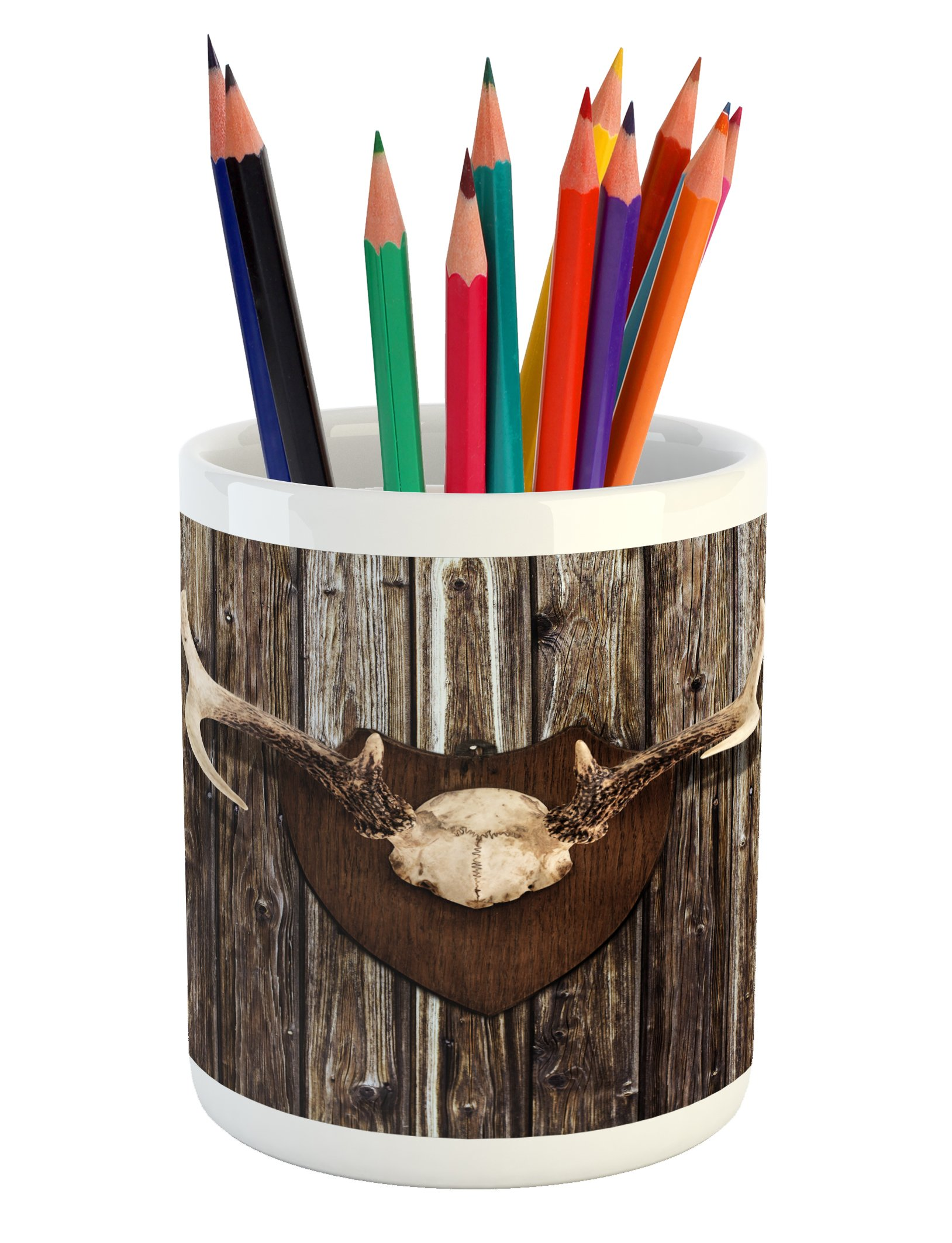 Lunarable Antler Pencil Pen Holder, Rustic Home Cottage Cabin Wall with Antlers Hunting Lodge Country House Trophy Print, Printed Ceramic Pencil Pen Holder for Desk Office Accessory, Brown