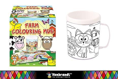 Granja Para Colorear taza | color en tu propia taza: Amazon.es ...