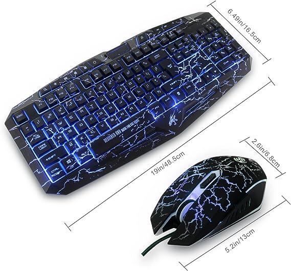 Gaming Set de teclado y ratón USB Wired LED MFTEK - 3 Color retroiluminadas Gaming Set de teclado y ratón con superficie agrietarse para PC Gamers ...