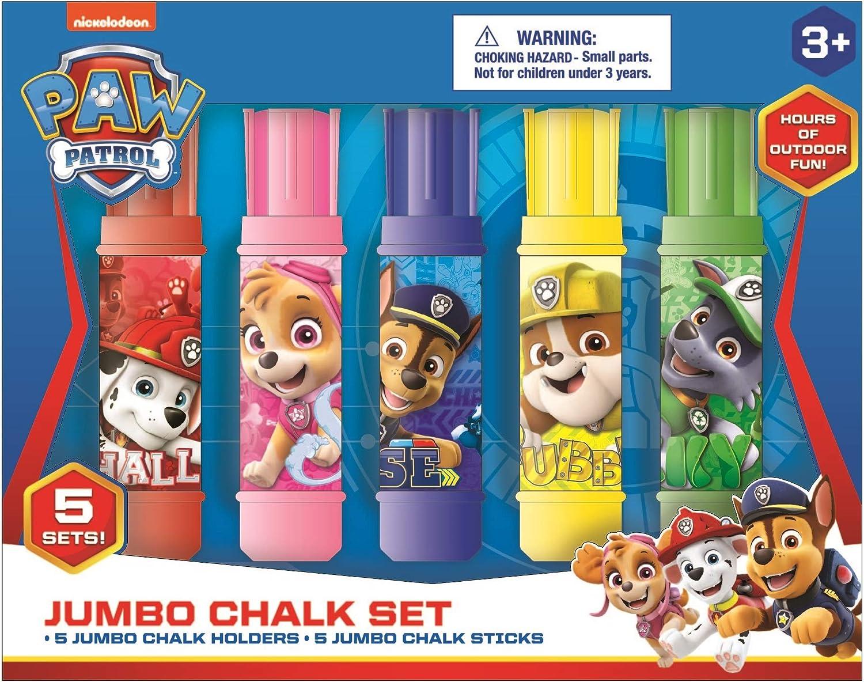 Innovative Designs Nickelodeon Paw Patrol Kids Outdoor Sidewalk Chalk Jumbo Chalks Set with Holders