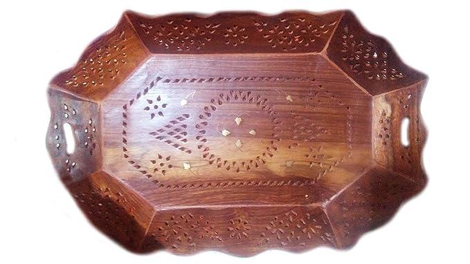 Bandeja de madera en forma octal con talla floral y trabajo de latón, bandeja decorativa de frutas, bandeja antigua, 15 x 10 pulgadas, día de pascua/día de ...