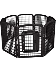 AmazonBasics 8-Panel Plastic Pet Pen Fence Enclosure With Gate - 64 x 64 x 34 Inches, Black