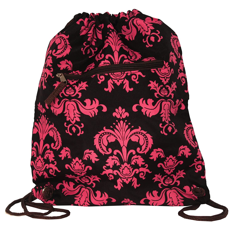 上品なスタイル ワールドトラベラー15インチドローストリングバックパックバッグ B00VWL4LP6 Size|Brown Brown Damask Pink Damask One Size One One Size|Brown Pink Damask, L.K&Shop:2eee1dca --- arianechie.dominiotemporario.com