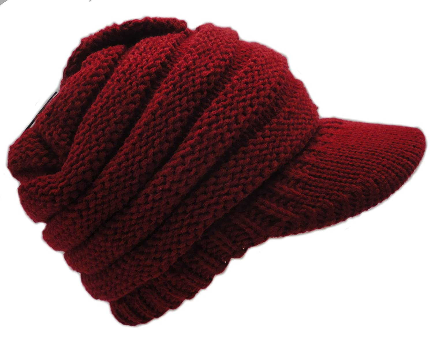 abeb4bc378c ... Newsboy Floral Cable Knitted Hat with Visor Bill Winter Warm Hat for  Women