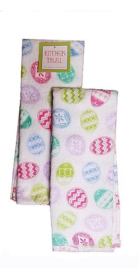 Pascua primavera cocina juego de toallas 2 unidades decorada huevos: Amazon.es: Hogar