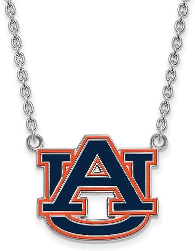 925 Sterling Silver Rhodium-plated Laser-cut Auburn University Large I Love Logo Pendant
