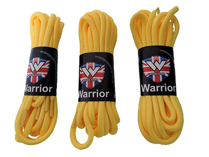 Warrior UK Pack of 3 Pairs Long Round Yellow Boot Shoe Laces Punk Oi