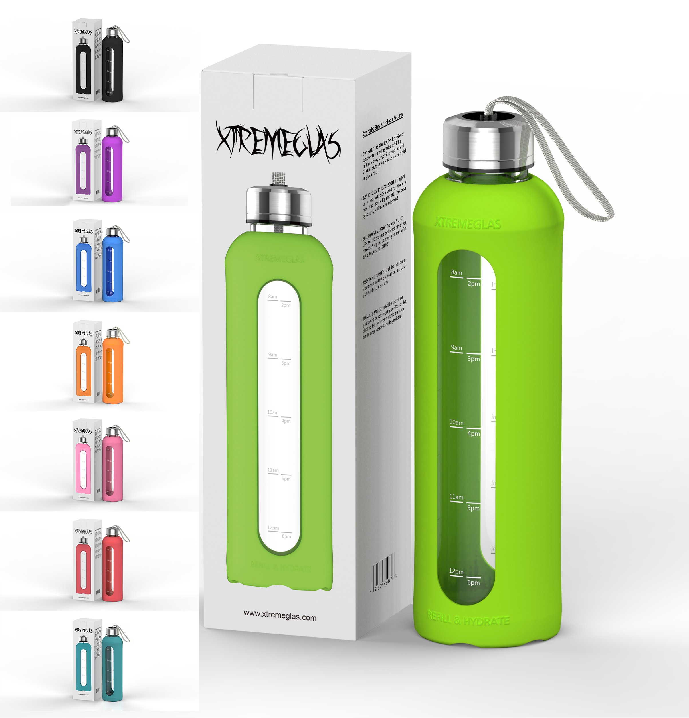 Xtremeglas 32 Oz Glass Water Bottle Silicone Sleeve Leak Proof Lids Time Markings & Measurements BPA Free to-Go Travel at Home Reusable Safe Hot Liquids Tea Coffee Daily Intake Drink (Green)