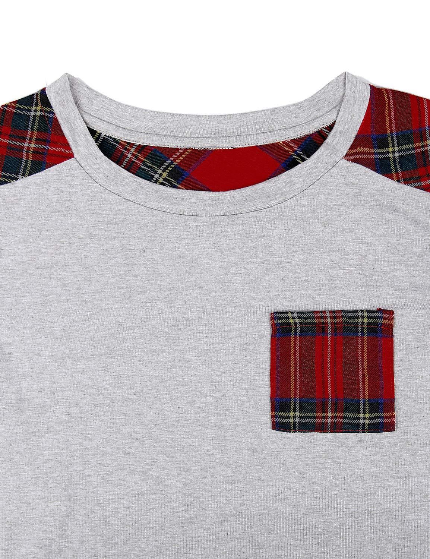 Blooming Jelly Womens Plaid Shirt Short Sleeve Crew Neck T-Shirt Color Block Top Pocket Knit Tunic(Medium, Grey)
