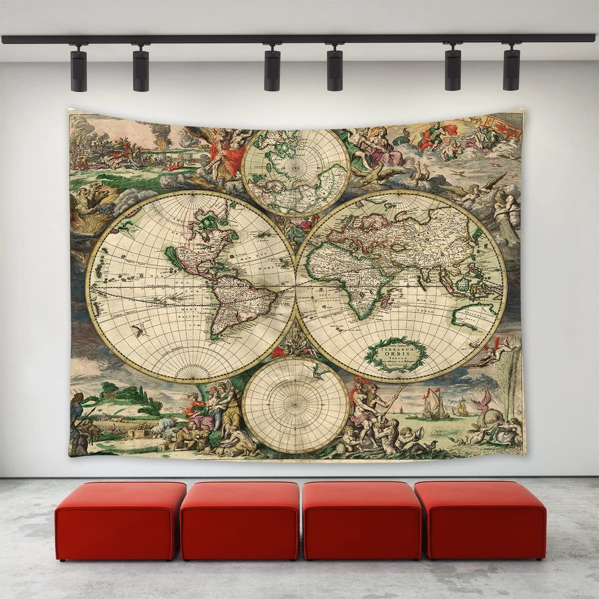 LBKT Historical Atlas Decor Tapestry Wall Hanging, Ancient Old World Map 1689 Wall Tapestry Home Decoration Wall Decor Art Tapestries for Bedroom Living Room Dorm Decor 80