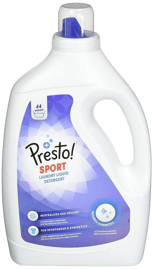 Marca Amazon - Presto! Detergente líquido sport, 176 lavados (4 Packs, 44 cada uno)
