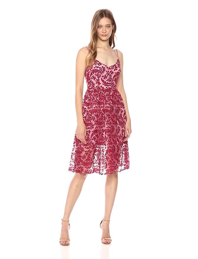 a4ccb604a75 BB Dakota Women s Candler Two Tone Velvet Lace Midi Dress at Amazon Women s  Clothing store