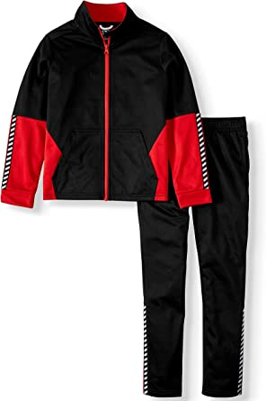 ***NEW ATHLETIC WORKS BOYS FULL ZIP JACKET AND JOGGERS 2-PIECE TRACKSUIT RED//BLK