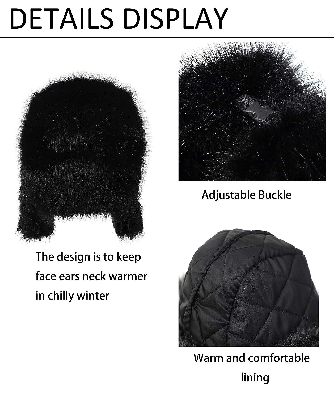 RUSSIAN FUR USHANKA HAT Mens Small black /& grey ski trapper Gents winter ushanka