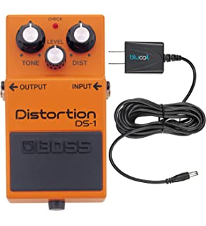 Boss DS-1 Distortion Guitar Effects Pedal Bundle with Blucoil Power Supply Slim AC/