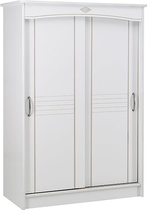 Destock Mueble armario blanco 2 puertas correderas L130: Amazon.es: Hogar