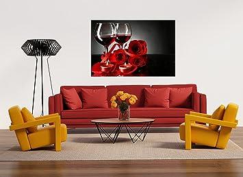Glasbild Motiv Rotwein Wohnzimmer Modern querformat ...