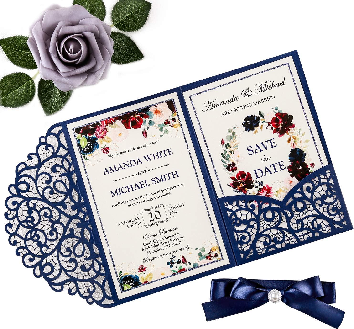 Doris Home 4.7 x7 inch 50PCS Blank Navy Blue Wedding Invitations Kits Laser Cut Hollow Rose Pocket Wedding Invitation Cards with Envelopes for Wedding Bridal Shower Engagement Invite