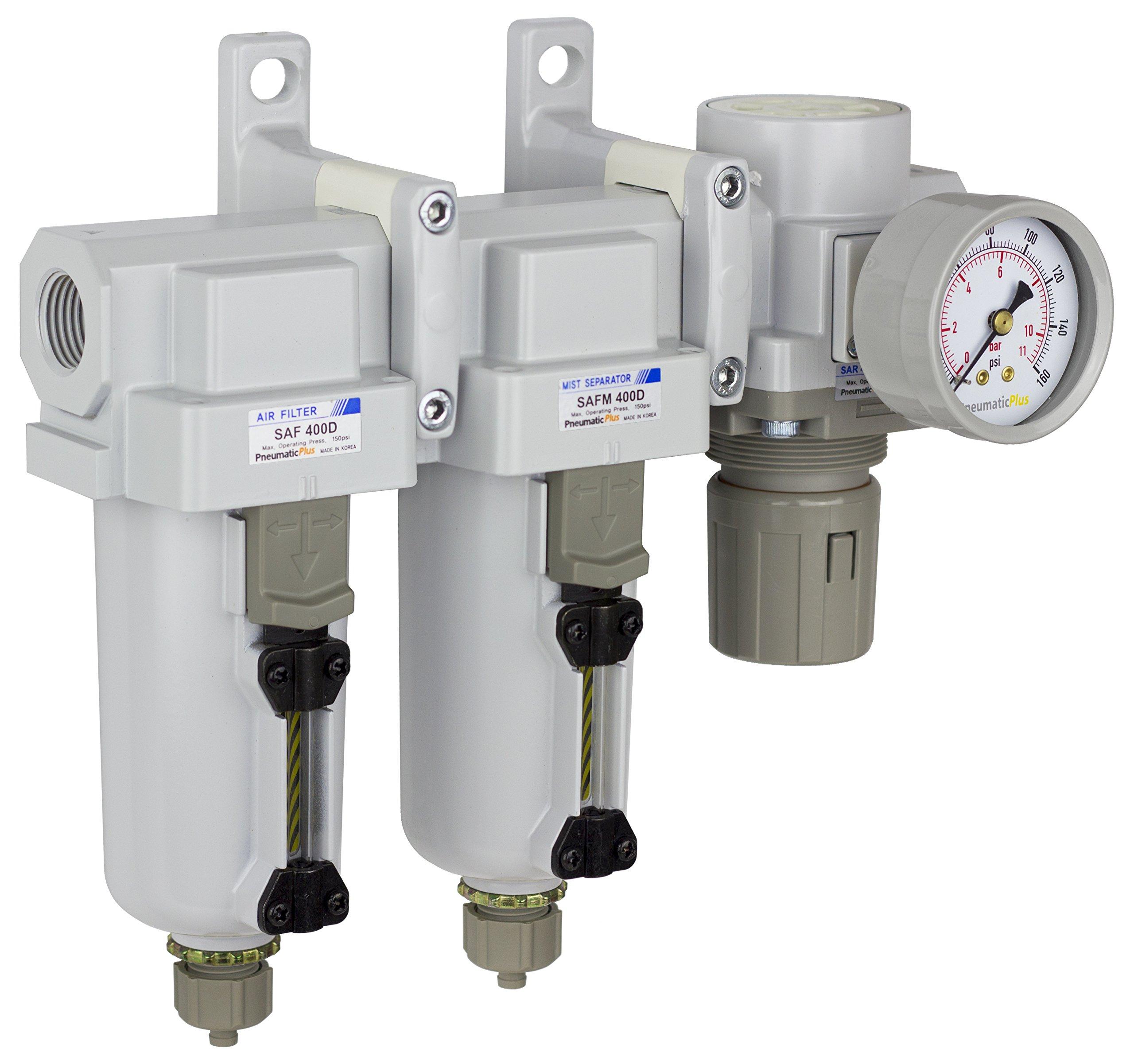 PneumaticPlus SAU430-N04G-MEP Three Stage Air Drying System Particulate Air Filter, Coalescing Filter, Air Pressure Regulator Combo 1/2'' NPT - Metal Bowl, Manual Drain, Bracket, Gauge