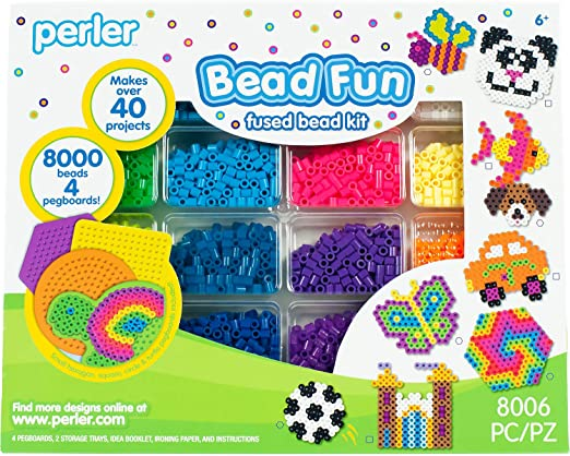 Amazon Com Perler Activity Kit And Storage Trays 8000 Beads Pegboards 8006 Pcs Arts Crafts Sewing
