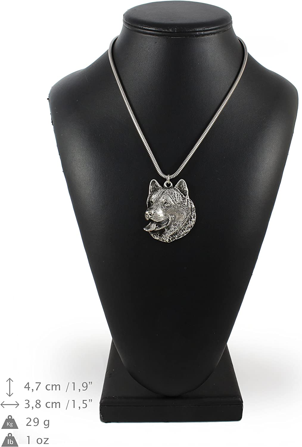Alaskan Malamute ArtDog Necklace Silver Plated Dog Pendant on a Silver Chain