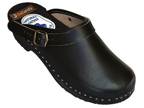 BeComfy Zapatillas de hombres de cuero, negro, suela de madera, tamaños 40-46, model VK52 (46, Negro)