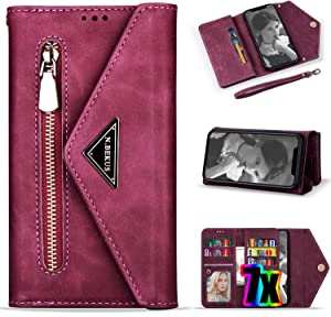 Vodico iPhone 8 Plus Wallet Case for Women,iPhone 7 Plus Case with Card Holder, Leather Folio Flip Zipper Clutch Purse Folding Magnetic Clasp Full Body Shockproof Stand Cover with Strap (Red)