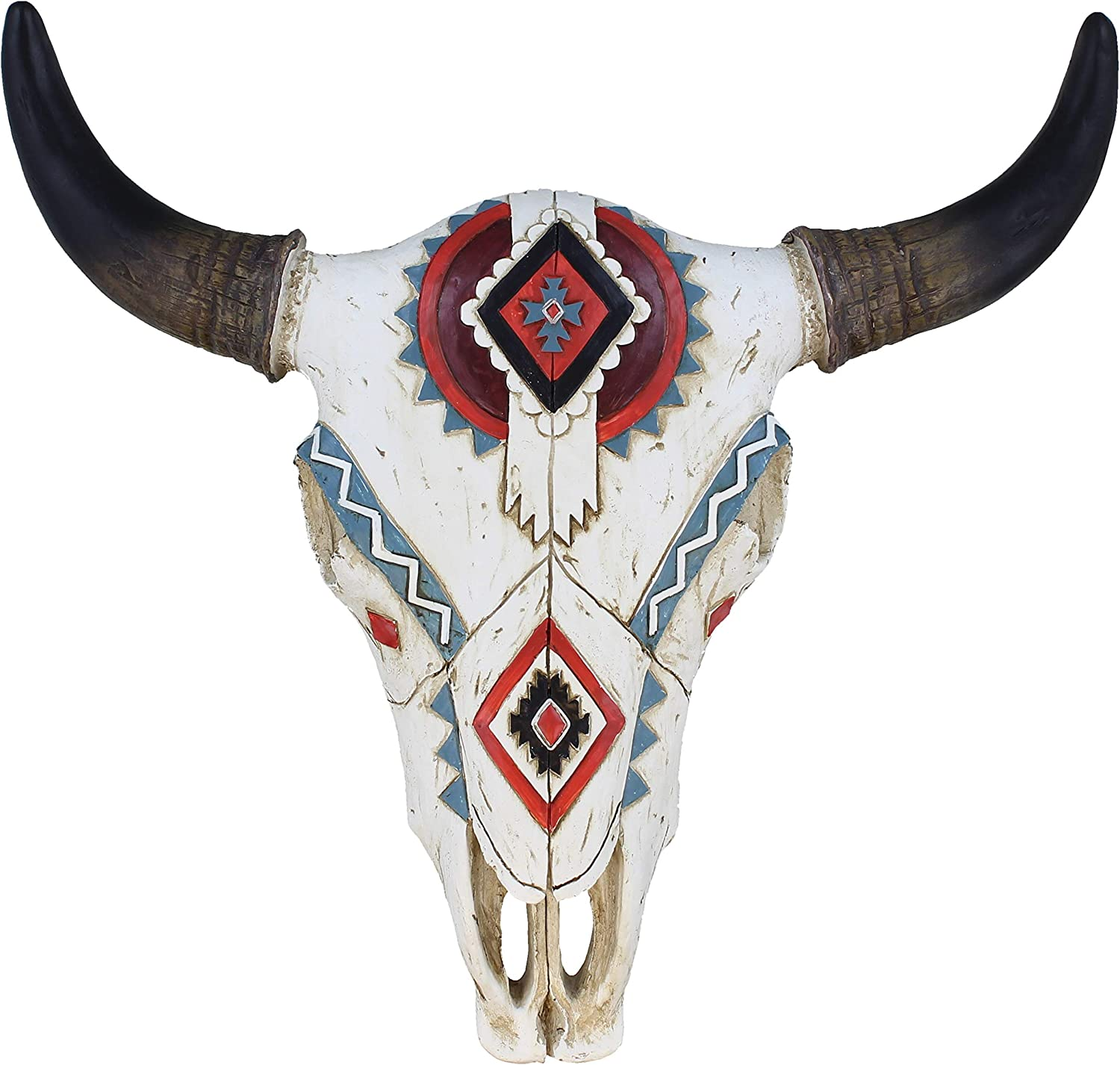 Tribal Design Carved Painted Steer Bull Cow Skull - Wall Mount Head - Rustic Western Sculpture