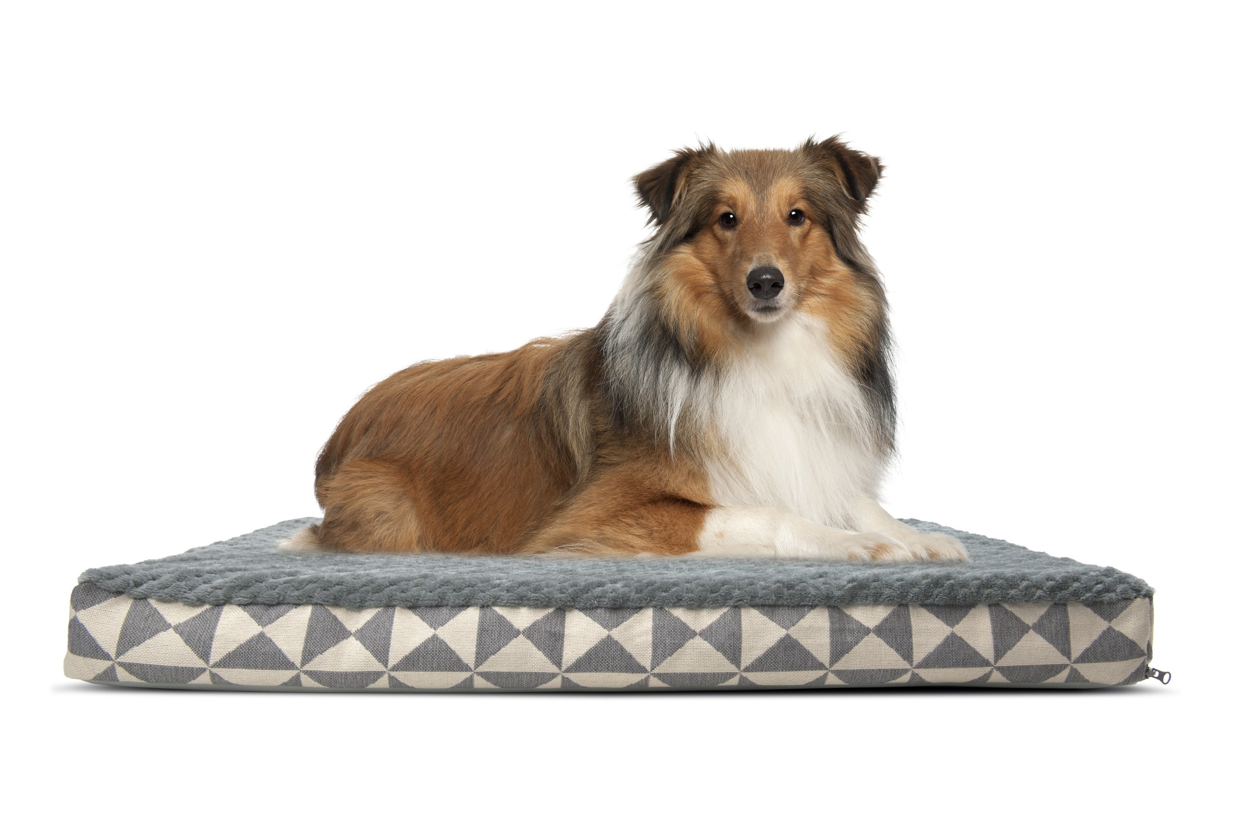 Furhaven Pet Dog Bed | Deluxe Orthopedic Plush Kilim Mattress Pet Bed for Dogs & Cats, Pyramid Gray, Large