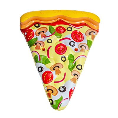 JOYIN Giant Inflatable Pizza Slice Pool Float (Vegetarian) with Cup Holders for Inflatable Pool Float Party Decorations, Extra Large Summer Pool Raft: Toys & Games