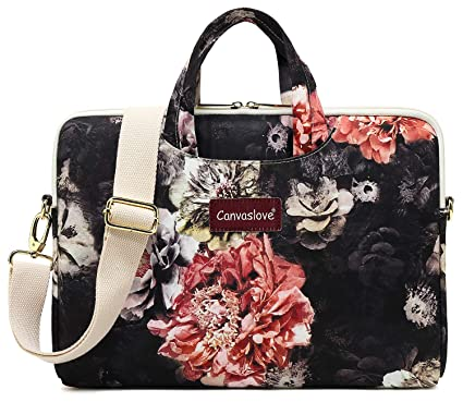 b8f2f4713c23 Canvaslove Big Red Chrysanthemum Waterproof Laptop Shoulder Messenger Bag  Case for MacBook Pro 15 and 14 Inch 15.6 Inch Laptop