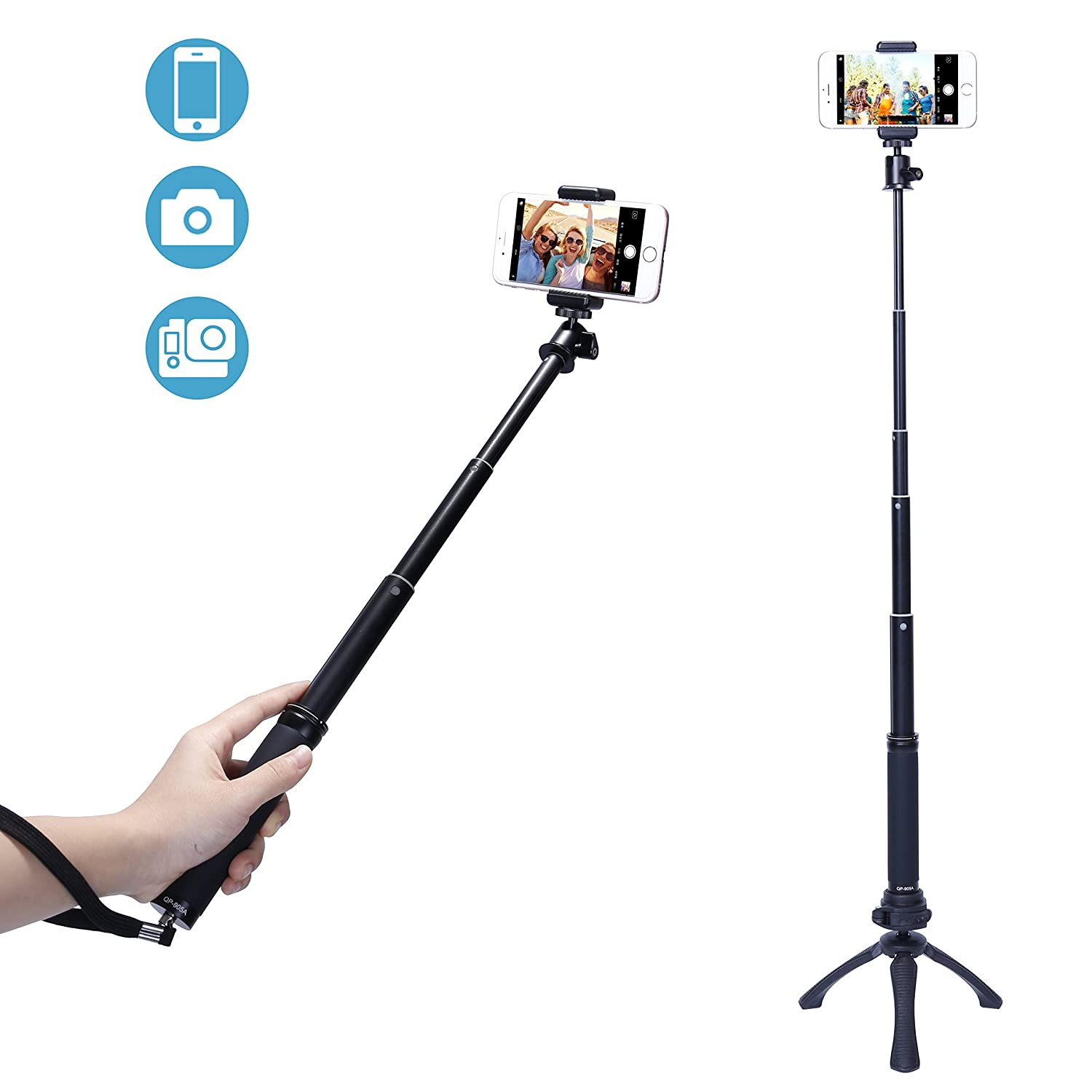 Fotopro Mini Tripod Sets Selfie Stick, Mobile Phone Adapter, Bluetooth Remote Shutter Release for The Camera, Gopro, iPhone, Samsung and Other Smartphones