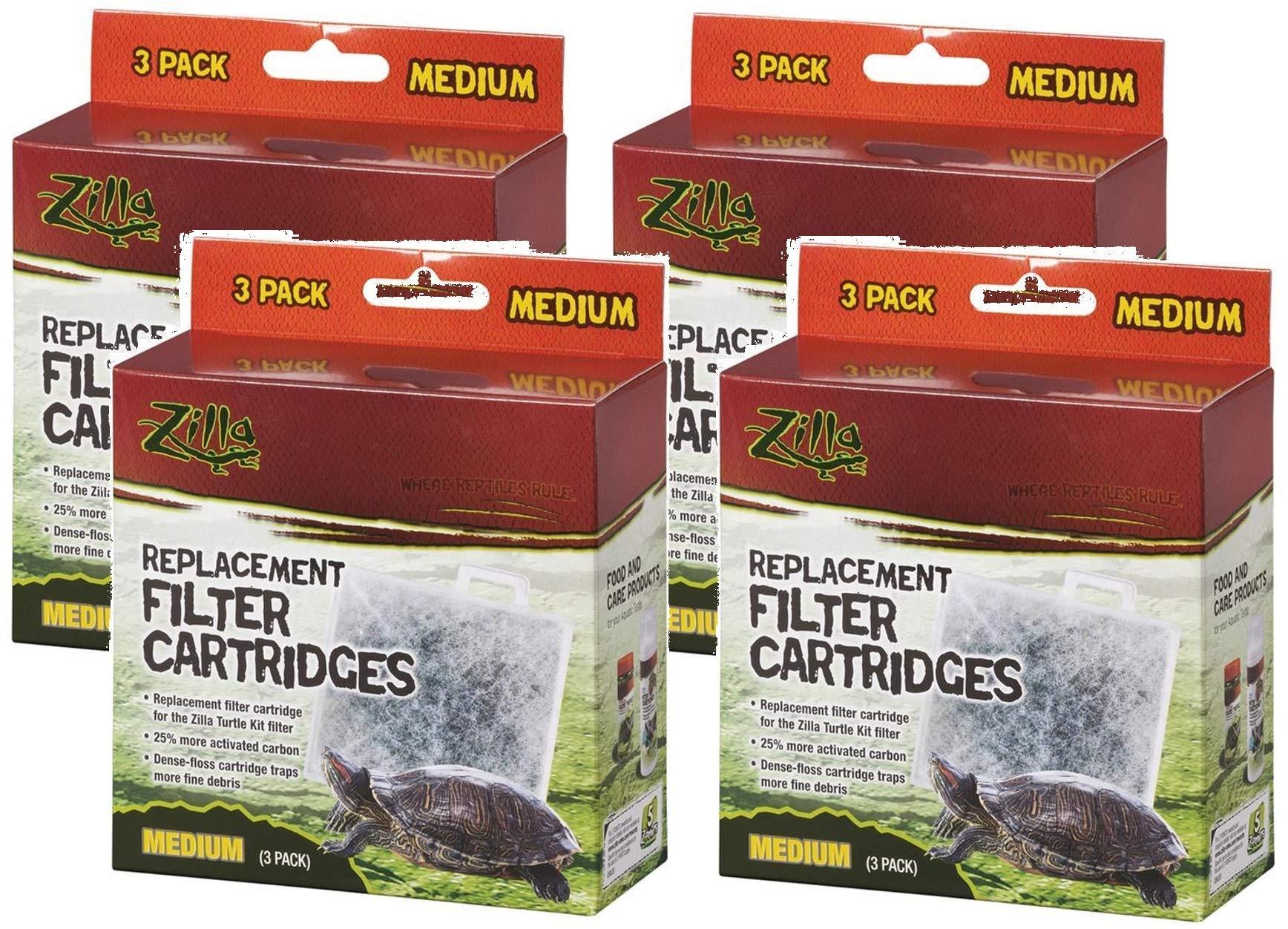 Zilla (4 Pack) Basking Platform Replacement Filter Cartridges for Aquarium (3 Filters Per Pack)