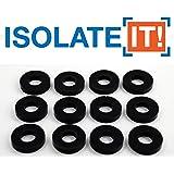 "Isolate It: Sorbothane Vibration Isolation Washer 70 Duro (.45"" ID - 1"" OD - .19"" Deep) - 12 Pack"