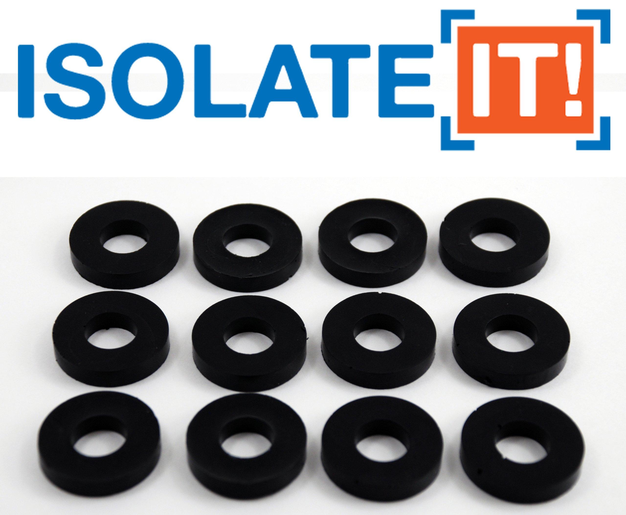 Isolate It: Sorbothane Vibration Isolation Washer 30 Duro (.45'' ID - 1'' OD - .19'' Deep) - 12 Pack