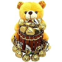 Rich'U Chocolates - Chocolate Gift Pack Combo - Soft Teddy Bear Pen-Stand (1 Pc) with Chocolates (12 Pcs) Best for Birthday Anniversary Girlfriend Boyfriend Wife Husband Love
