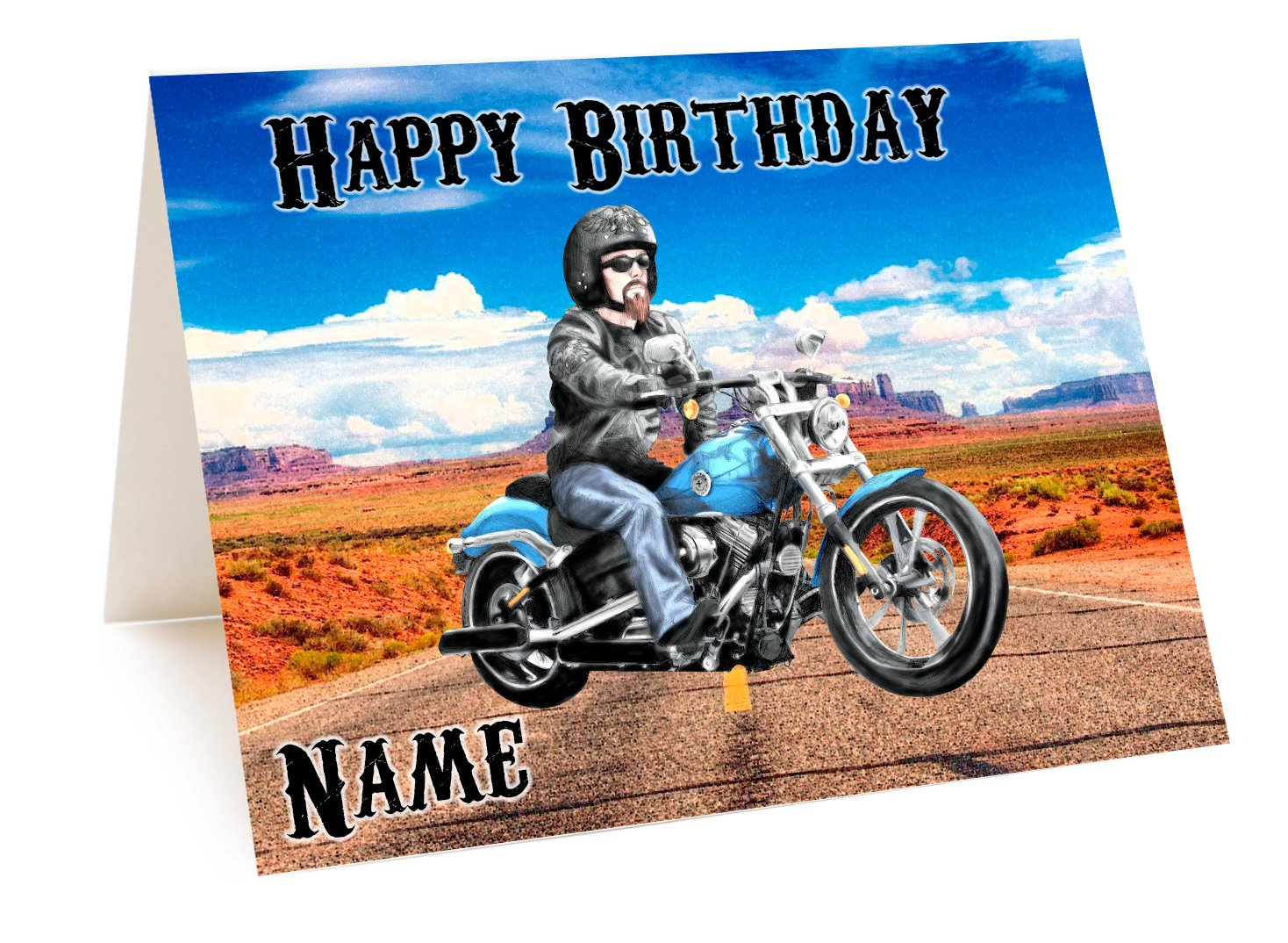 Harley motorbike personalised birthday card add any name and age harley motorbike personalised birthday card add any name and age amazon office products kristyandbryce Image collections