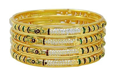 Banithani Indian Goldplated Bangle Set Bollywood Bracelet Jewellery 2*4 Gift For Her vo9iYkWb