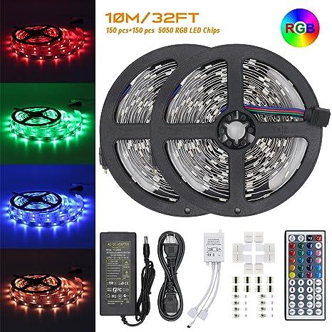 LED Strip Lights Kit u2013 32.8ft 300 LEDs SMD 5050 RGB Light with 44 Key  sc 1 st  Amazon.com & Amazon.com: LED Strip Lights Kit u2013 32.8ft 300 LEDs SMD 5050 RGB ...