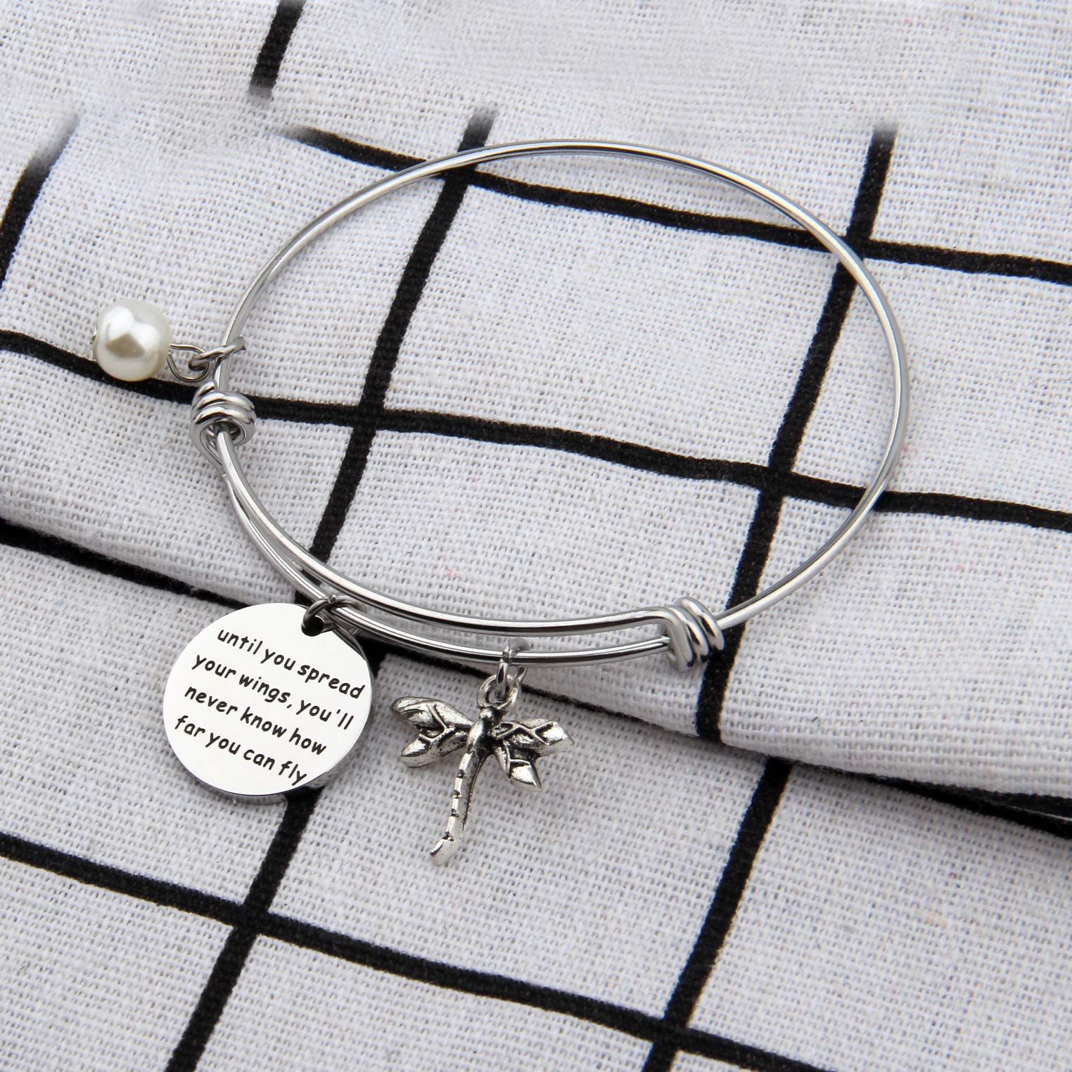 AKTAP Inspirational Jewelry Until You Spread Your Wings You'll Never Know How Far You Can Fly Dragonfly Charm Bracelet Encouragement Gifts for Her (Spread Your Wings Bracelet) by AKTAP (Image #1)
