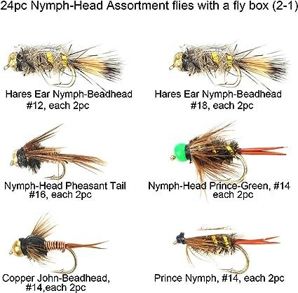 Pheasant Tail /& Black Nymph Size 10//12//14 18 Gold Head Nymphs Trout Flies GRHE