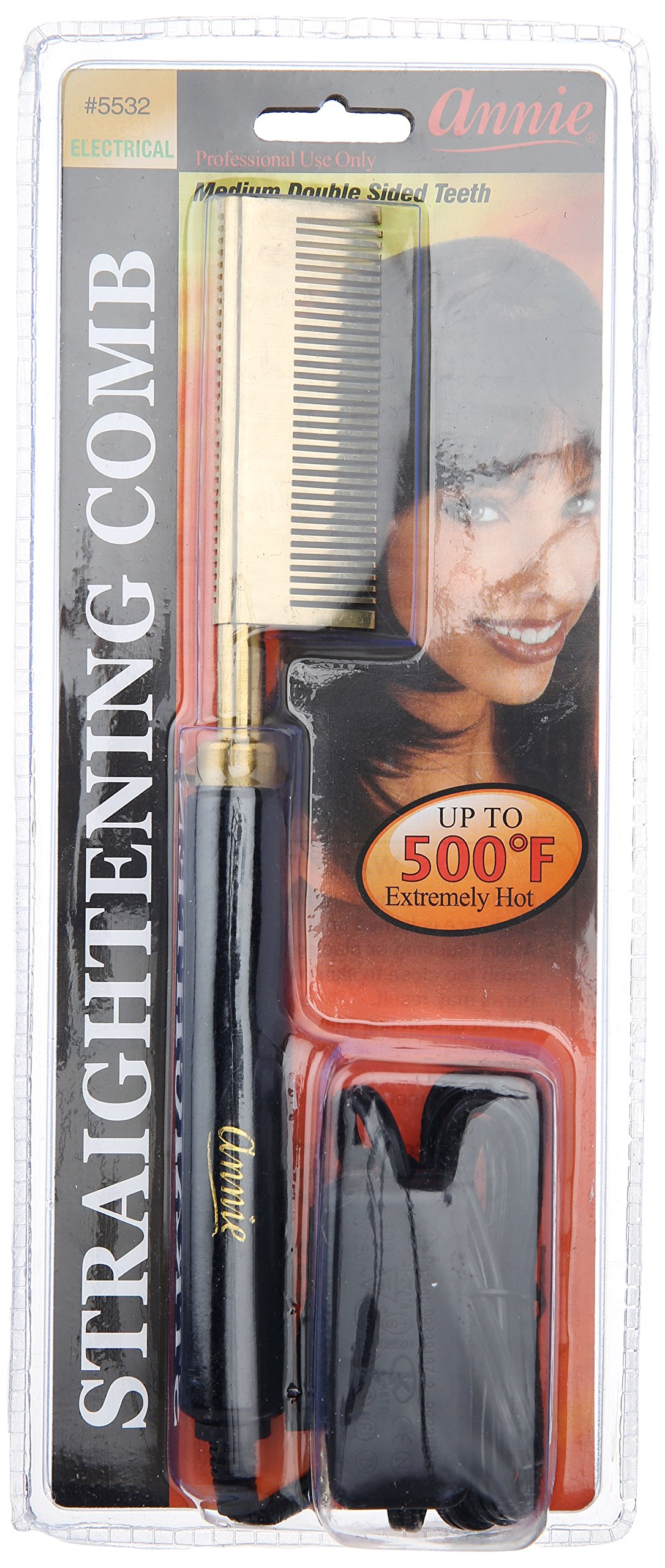 Annie Electrical Straightening Comb, Double Sided Medium Teeth