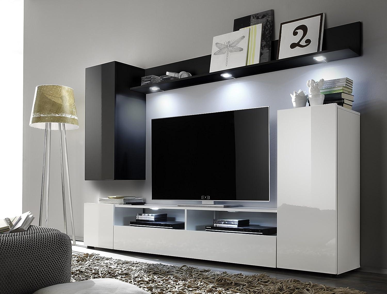 Wohnwand weiß schwarz hochglanz  trendteam DS94502 Wohnwand Anbauwand Wohnzimmerschrank schwarz ...