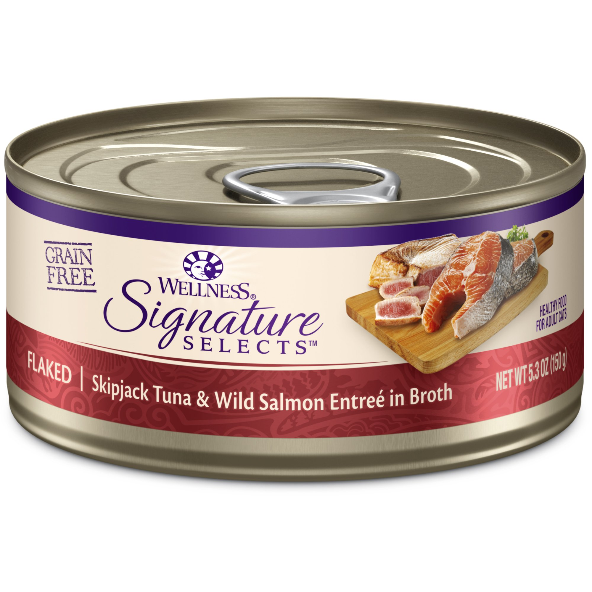 Wellness Core Signature Selects Grain Free Wet Canned Cat Food, Flaked Skipjack Tuna & Salmon, 5.3-Ounce (Pack Of 12) by Wellness Natural Pet Food