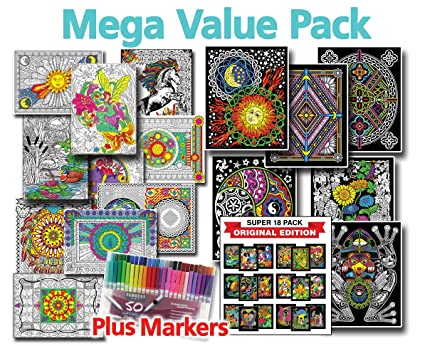 Amazon.com: Mega Coloring Poster Value Pack - Line Art, Fuzzy ...