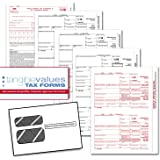Tangible Values 1099 Misc Laser Forms (4-Part) Kit with Env for 25 Vendors + 3 Form 1096's (2016)
