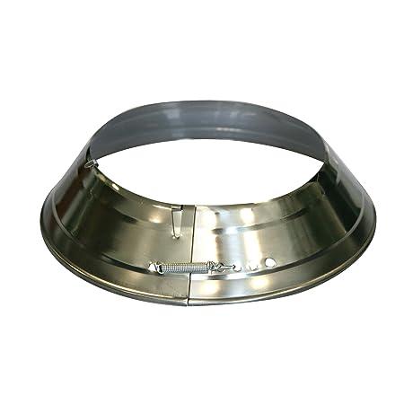Kamino - Flam – Rosetón para tubo de chimenea (Ø 120 mm), Rosetón anillo para tubos de estufa, Rosetón conector para sistema de chimeneas, estufas, ventilaciones – plata